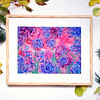 abstract purple roses artwork on canvas