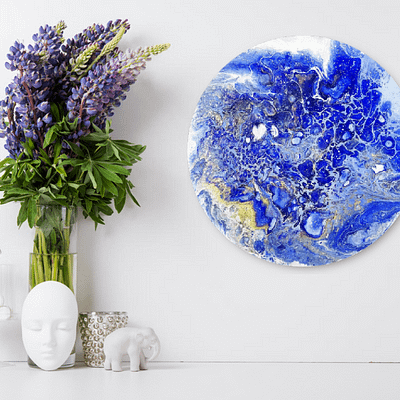 Blue planet Earth – abstract pouring painting