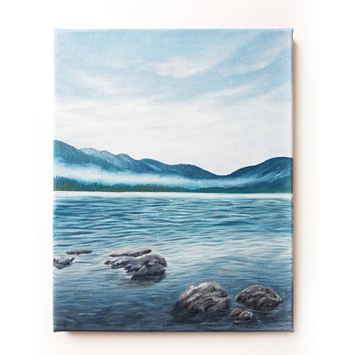 Cloudy lake – small oil painting