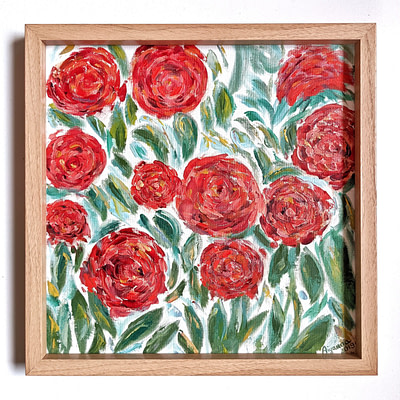 Pretty in red roses – impasto flower painting
