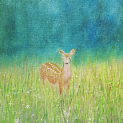 Original doe painting – Doe in the meadow