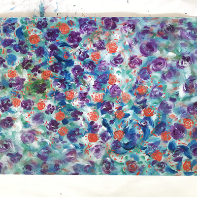 Purple roses – floral oil painting on paper