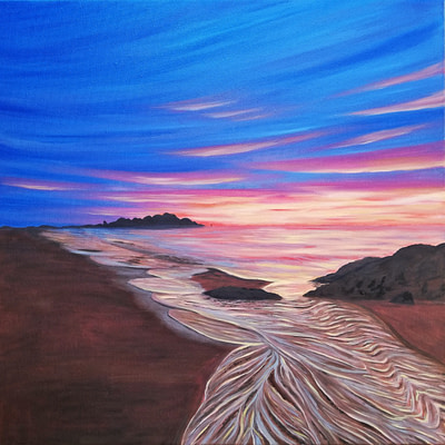 Sweet sunset at sea – sunset beach painting
