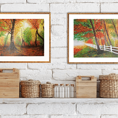 On the edge of autumn forest – fall landscape painting