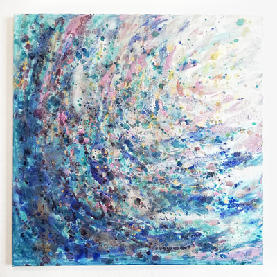 Fresh teal – 60 x 60 cm abstract painting