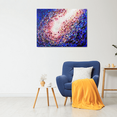 Essence – abstract galaxy painting on canvas, 80×60 cm