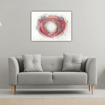 Summer swirl – abstract mixed media painting, 60×80 cm