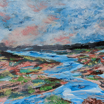 Flowing river – original hand painted artwork, 24x18cm