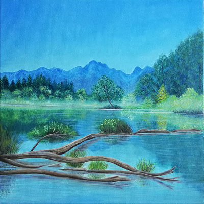 Crystal clear lake – original landscape painting