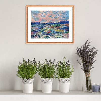 Colorful fields – original hand painted artwork, 24x18cm