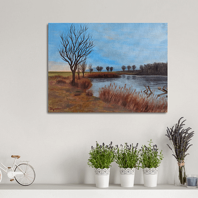 Autumn walk near fish pond – original landscape artwork on canvas, 40x30cm