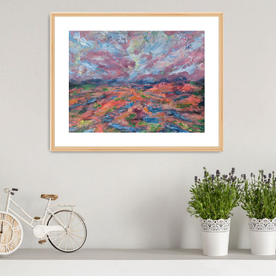 Fiery ground – original abstract landscape, 29,7x21cm