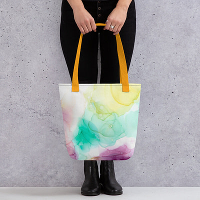 Yellow and purple tote bag – unique abstract design