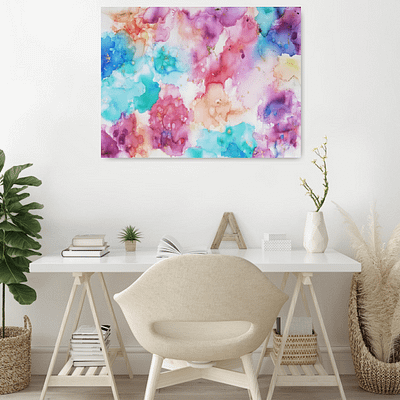 Dreamy world – abstract ink painting on canvas, 80×60 cm