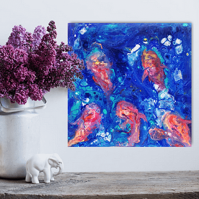 Together underwater – abstract koi fish painting