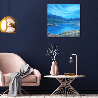 Serenity – lake painting on canvas, 50×50 cm