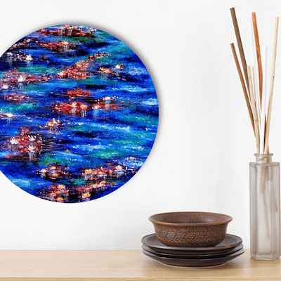 Reborn in the water – abstract lilies in the pond painting