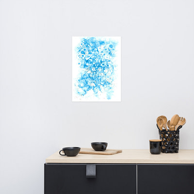 Blue bubbles- abstract print on paper