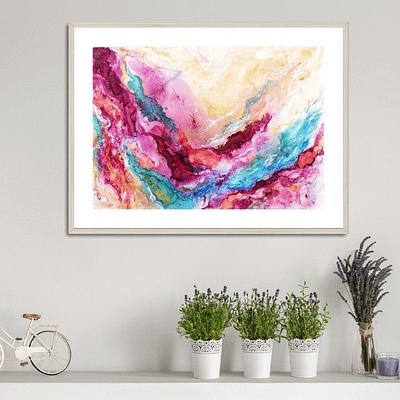 Romantic fantasy – abstract painting on paper, 46×32 cm