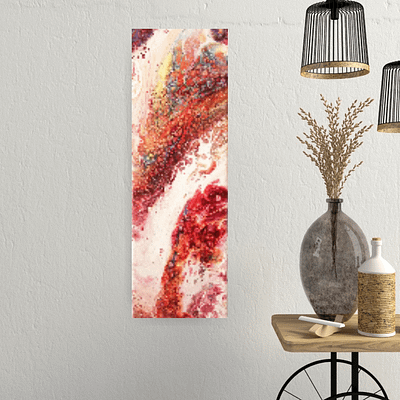 Red abundance – modern abstract painting, 20×60 cm