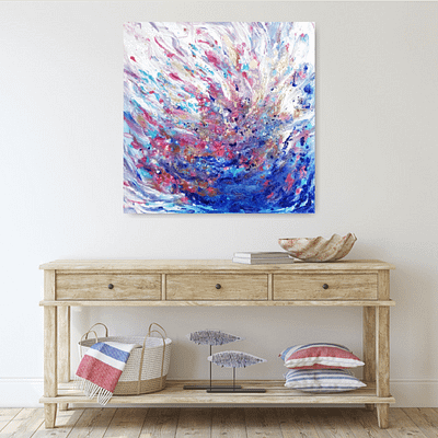 Blue fantasy abstract painting, 60 x 60 cm