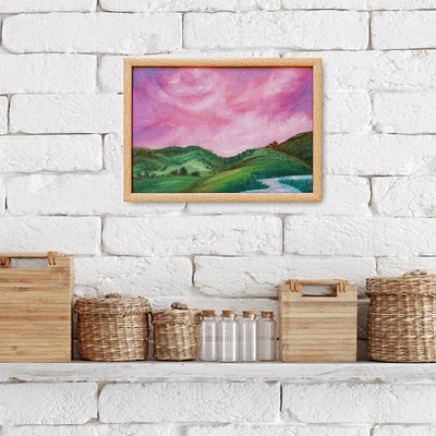 Pink skies – original landscape painting