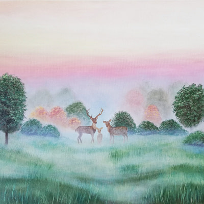 Deer family – original landscape painting