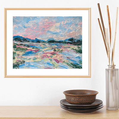 Bright day in the country – original hand painted artwork, 24x18cm