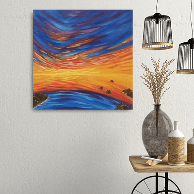 Flowing with dreams – sunset oil painting