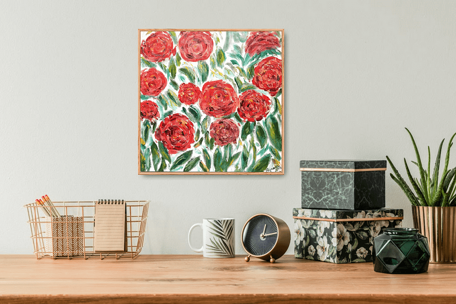 red roses floral oil painting