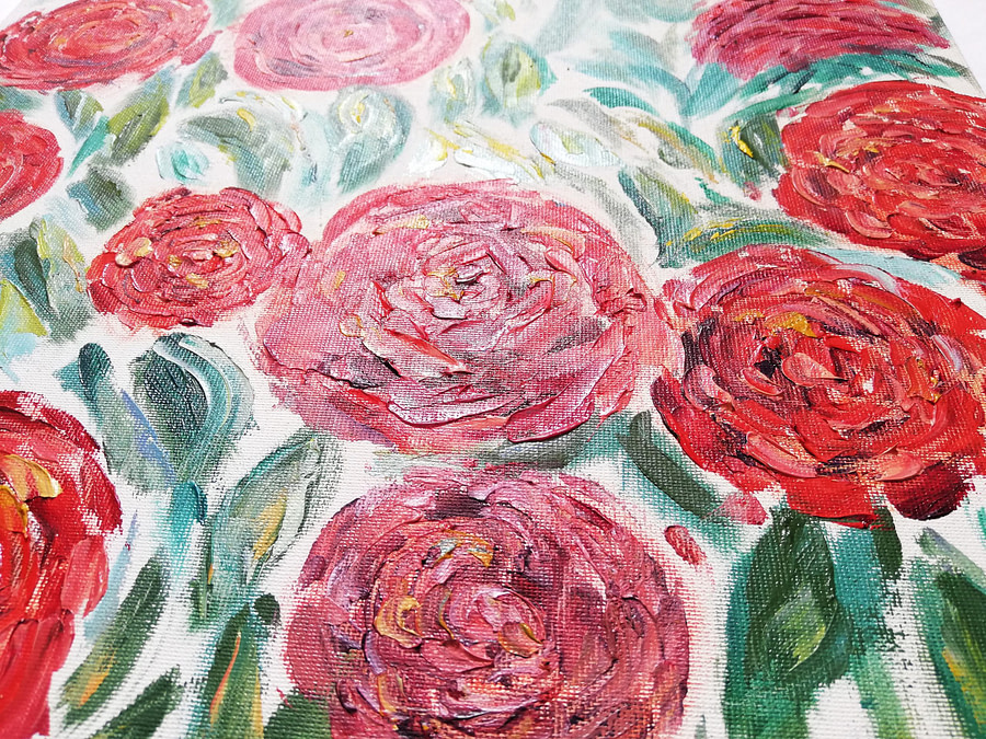 floral roses painting on canvas board