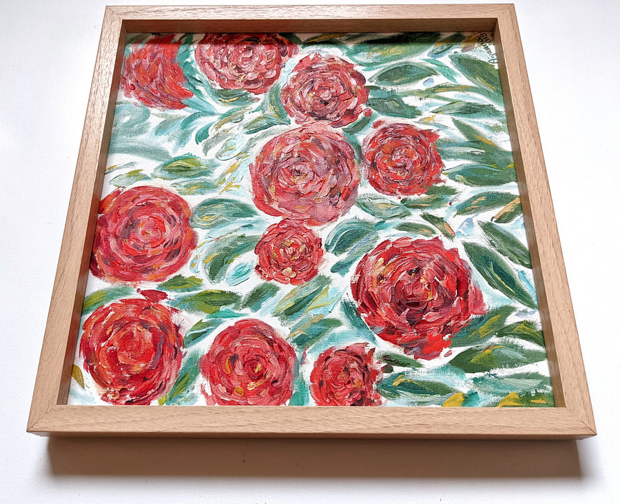 Pretty in red roses - impasto flower painting