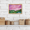 Pink skies - original small landscape painting on canvas in frame