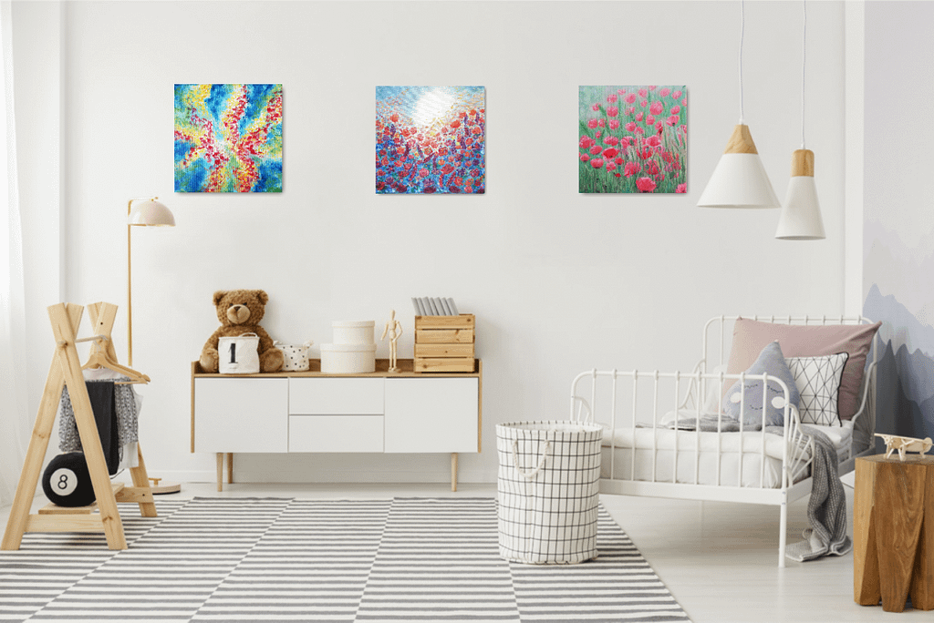 floral paintings on the wall
