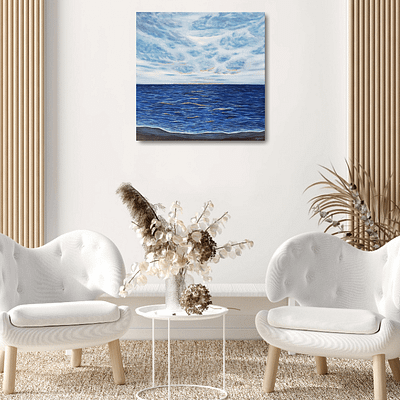 Waves with golden edge – oil painting on canvas, 50×50 cm