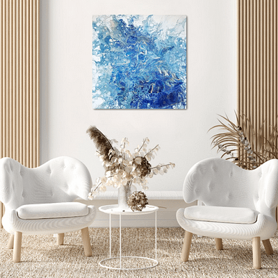 Golden lines – original abstract blue painting, 50×50 cm