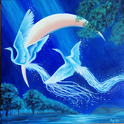 Flying swans – original fantasy painting