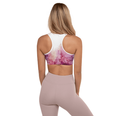 Gentle pink and purple padded sports bra