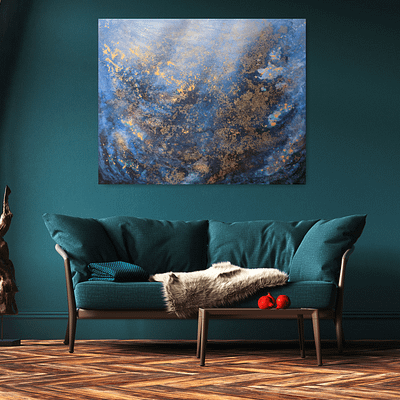 Underwater – hand painted abstract artwork, 100×80 cm