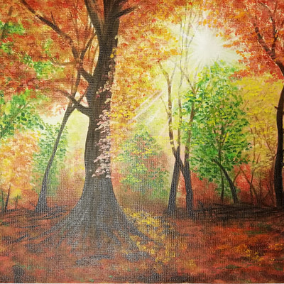 Autumn in the forest – original oil painting