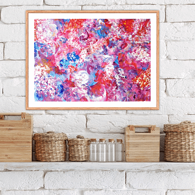 Pink and purple – abstract painting on paper