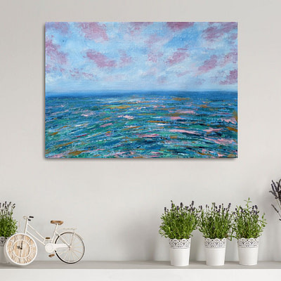 On a wave of hope – sunset oil painting
