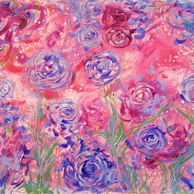 In the moment – abstract roses oil painting