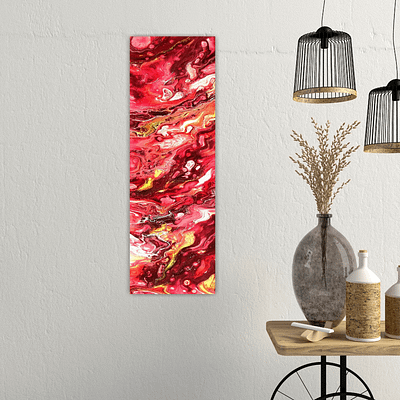 Flowing passion – modern abstract painting, 20×60 cm