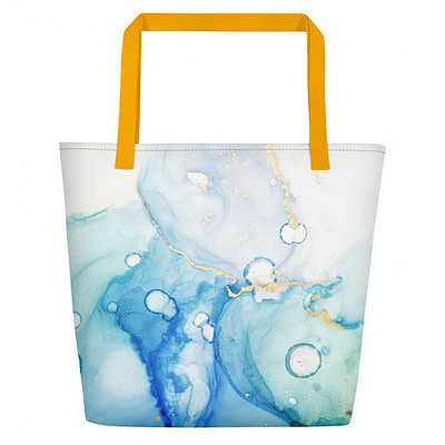 Blue and gold Tote Beach bag
