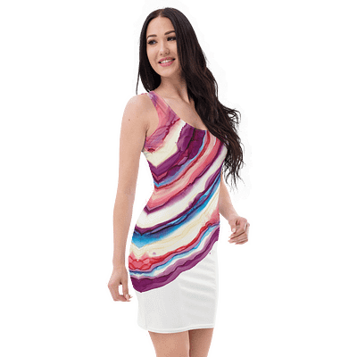 Beautiful fitting summer dress in purple and pink colors