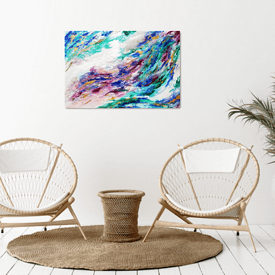 Untamed – Purple and green abstract painting