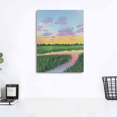 Sunset by the river – low country marsh painting