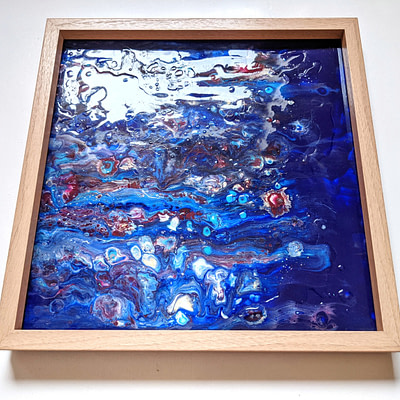 Flowers in the pond – abstract resin painting