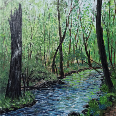 Summer forest stream – woods oil painting